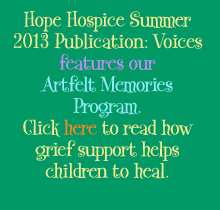 Click to read Hope Hospice Voices featuring our Artfelt Memories program.